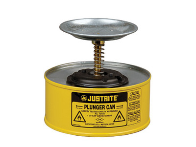 Justrite® Plunger Dispensing Can, 1 Quart, Yellow