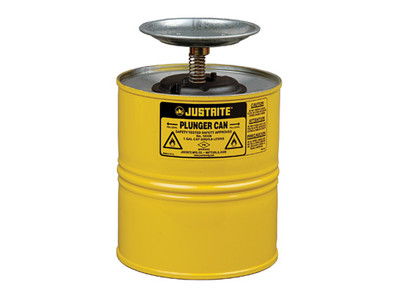 Justrite® Steel Plunger Can, 1 gallon, Yellow
