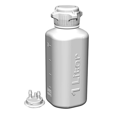 """Heavy Duty Vacuum Bottle, 1 Liter, HDPE, 53B Cap with 1/4"""" Barb Adapter & Closed Adapter"""