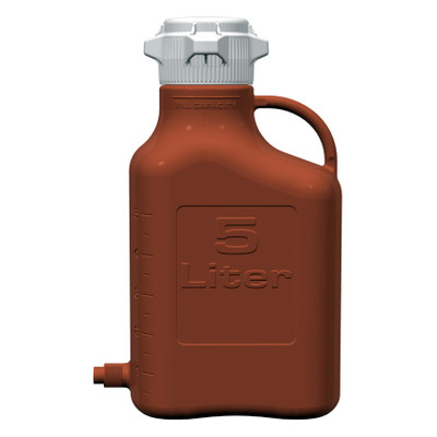 EZgrip® Carboy, Amber HDPE, 5 liter with 80mm VersaCap® and Spigot