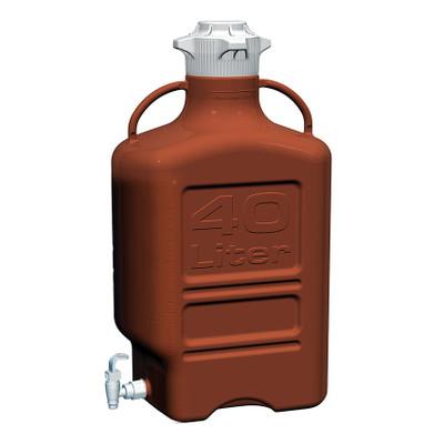 EZgrip Carboy, Amber HDPE, 40 liter with 120mm VersaCap and Spigot