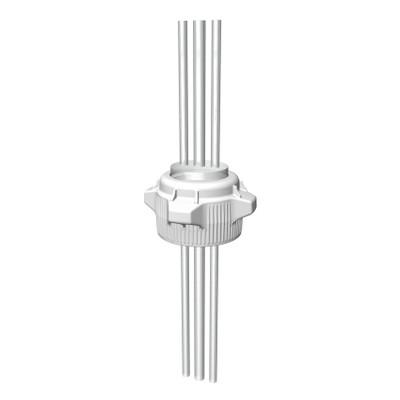 """VersaCap® Screw Cap, 83B, EZ-Top, Open Top Cap with (2) 1/4"""" & (1) 3/8"""" Tubing"""