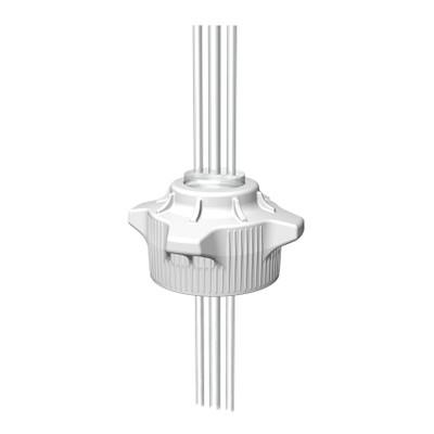 """VersaCap® Screw Cap, 120mm, EZ-Top, Open Top Cap With (2) 1/4"""" & (1) 3/8"""" Tubing"""