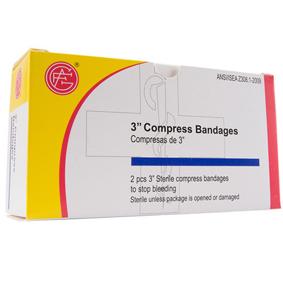 "Compression Bandage, 3"" First Aid Kit Refill, case"