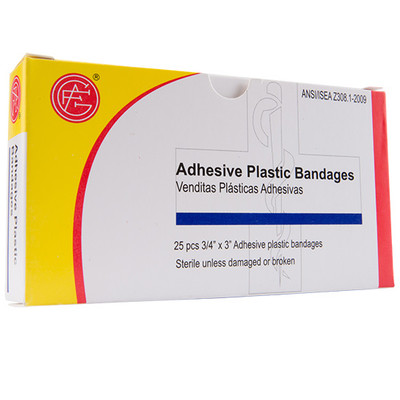 """Adhesive Plastic Bandage, 3/4"""" x 3"""", 25 pieces/box First Aid Kit Refill, case/100"""