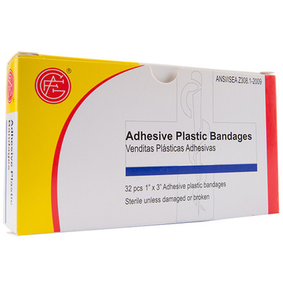 """Adhesive Plastic Bandage, 1"""" x 3"""" First Aid Kit Refill, case/100"""