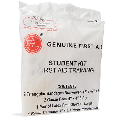 First Aid Student Training Kit (Gloves, Gauze, Bandages), case/100
