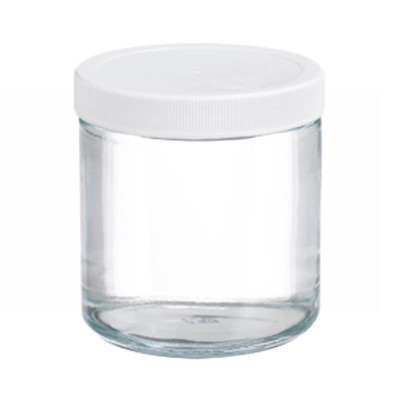 Certified Clean 16 oz Clear Glass Sample Jars with Screw Caps, Short, case/12