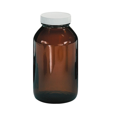 Certified Clean 32 oz Amber Glass Sample Jars with Screw Caps, case/12