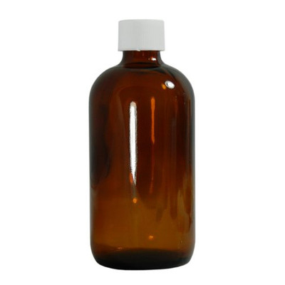 Certified Clean 32 oz Amber Glass Boston Round Bottles, PTFE Lined Caps, case/12