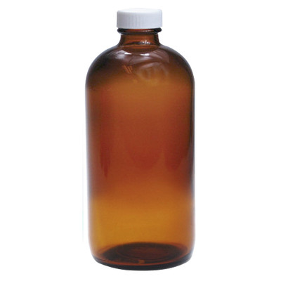 Certified Clean 16 oz Amber Glass Boston Round Bottles, PTFE Lined Caps, case/12