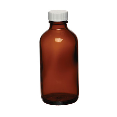 Certified Clean 8 oz Amber Glass Boston Round Bottles, PTFE Lined Caps, case/12