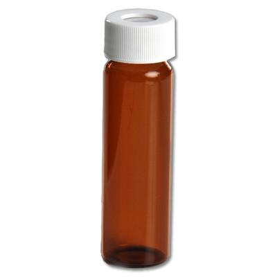 Certified Clean 40mL Amber Glass Vials, Open Top Screw Caps with .125 Septa, case/72