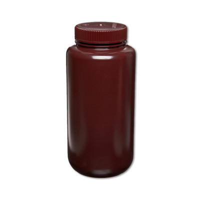 Certified Clean 32 oz Amber Wide Mouth Sample Bottles with Screw Caps, HDPE, case/12