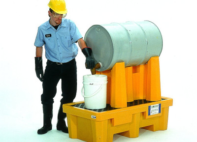 Horizontal Drum Spill Pallet, 1 Drum System, Choose Drain, Yellow