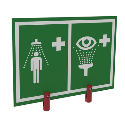 Justrite® Universal Safety Shower And Eye/Face Wash Sign With Brackets, Outdoor Showers With Insulation