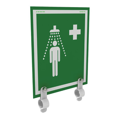 Justrite® Universal Safety Shower Sign With Brackets, Indoor/Outdoor Showers Without Insulation