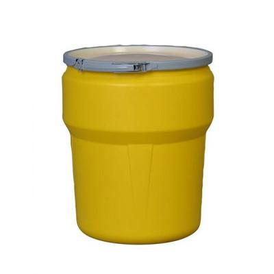 Eagle® 10 Gallon, Metal Lever-Lock, Lab Pack Open Head Plastic Barrel Drum, Yellow