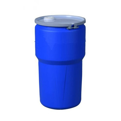 """Eagle® 14 Gallon, Metal Bolt Ring, Lab Pack Open Head Plastic Barrel Drum With 1x2"""" And 1x3/4"""" Bung Holes, Blue"""