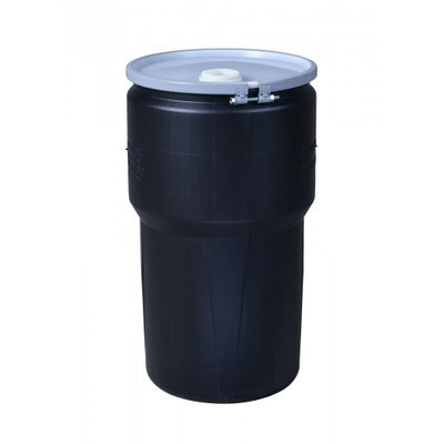 """Eagle® 14 Gallon, Metal Bolt Ring, Lab Pack Open Head Plastic Barrel Drum With 1x2"""" And 1x3/4"""" Bung Holes, Black"""