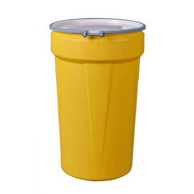 """Eagle® 55 Gallon, Metal Bolt Rings, Lab Pack Open Head Plastic Barrel Drum With 1x2"""" And 1x3/4"""" Bung Holes, Yellow"""