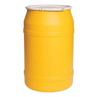 Eagle® 55 Gallon, Plastic Lever-Lock, Lab Open Head Plastic Barrel Drum, Yellow