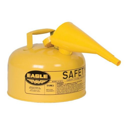Eagle® 2 Gallon Steel Safety Can For Diesel, Type I, Flame Arrester, Funnel, Yellow