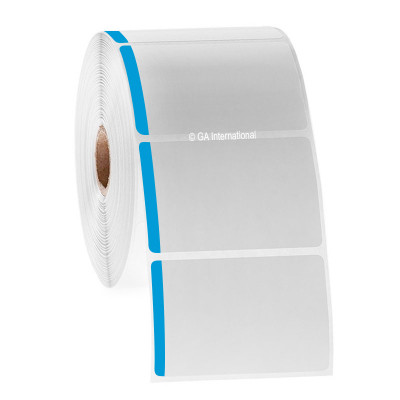 """Paper Labels For Direct Thermal Printers, White With Blue Color Tab, 3"""" x 2"""", with color tab, 1000 labels/roll"""