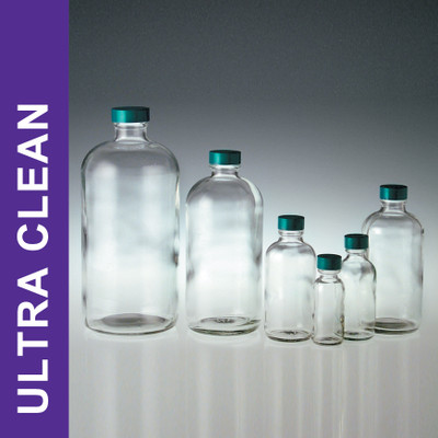 Product Family: Ultra Clean 32oz (950ml) Clear Boston Round, 33-400 Green PTFE Lined Cap