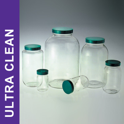 Product Family: Ultra Clean 32oz (950ml) Clear Wide Mouth Bottles, 70-400 Green PTFE Lined Cap