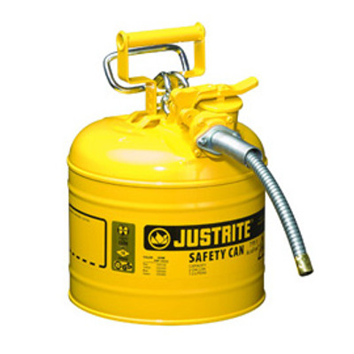 "Justrite® Type II Steel Safety Can, AccuFlow, 2 gallon, 5/8"" Spout, Choose Color"