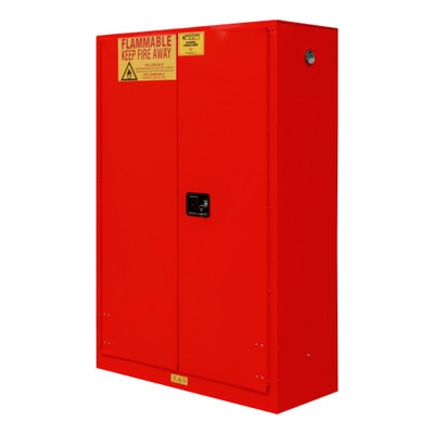 FM Approved, Flammable Storage Cabinet, 45 Gallon, 2 Doors, Manual Close, 2 Shelves, Red