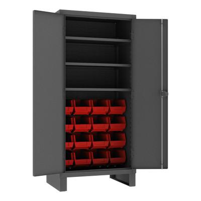 Heavy Duty Cabinet, 14 Gauge, 36 x 24 x 78, 3 Adjustable Shelves, 16 Red Bins, Recessed Doors, Cast Iron Pad-lockable Handle, Gray