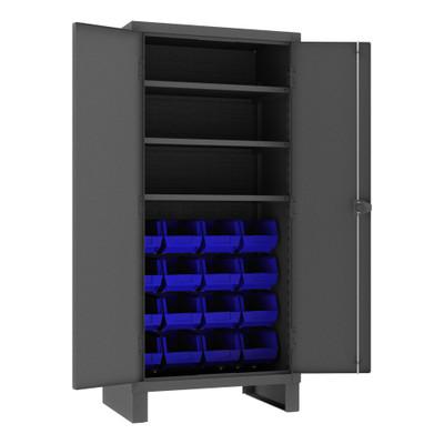 Heavy Duty Cabinet, 14 Gauge, 36 x 24 x 78, 3 Adjustable Shelves, 16 Blue Bins, Recessed Doors, Cast Iron Pad-lockable Handle, Gray