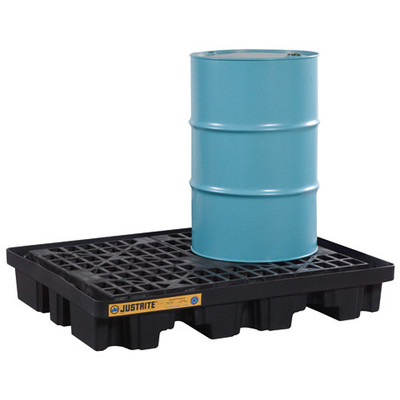 Justrite® Low Line Drum Spill Pallet, 2-Drum, Eco Black