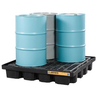 Justrite® Low Profile Spill Pallet, 4-Drum, Black Polyethylene