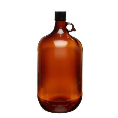 Amber Glass Jugs, 4 Liter, Black PTFE Lined Caps, 38-439, case/6