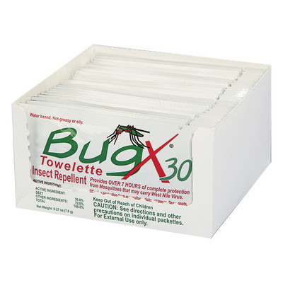 BugX30 Insect Repellent Towelettes, Case/4