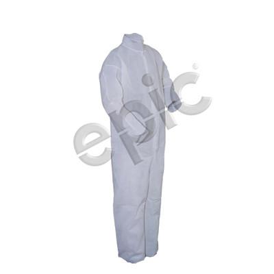 Disposable Coveralls, Heavy Polypropylene with Collar, No Elastic, White, case/25