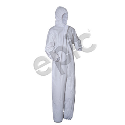 Disposable Coveralls, Microporous Coated with Hood, White, case/25