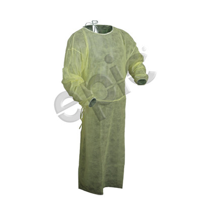 Disposable Medical Examination / Isolation Gown, Polypropylene, Yellow, case/50