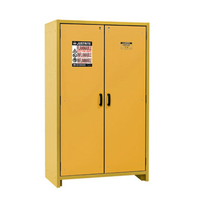 Justrite® EN Flammable Safety Cabinet, 30-Minute Rated, 45 gal, 3 shelf, Yellow