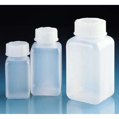 Square Bottles, Wide Mouth, HDPE, Choose Size, Pack/12