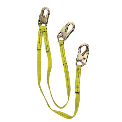 6' Lanyard with Shock Pack, Double Locking Snap Hooks, Twin Tail