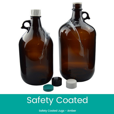 Safety Coated Amber Glass Jugs, 4 Liter, 38-439 Black PTFE Lined Caps, case/6