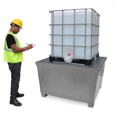 IBC tote (not included) can be safely stored on this compliant secondary containment.