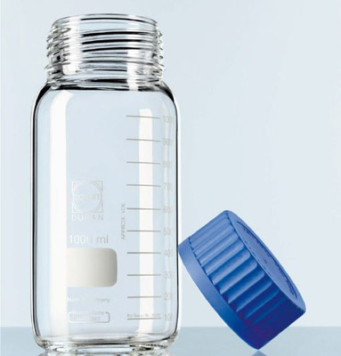 Wide Mouth Glass Media Bottle, GL-80, Graduated, 10,000mL, Each