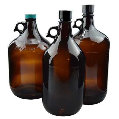 Amber Glass Jugs, 2.5 liter with 38-430 Black Phenolic F217 & PTFE Lined Cap, case/6