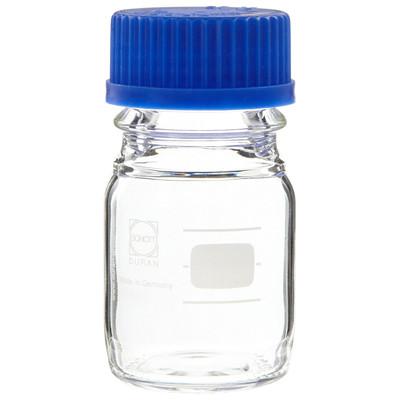 Glass Media Bottles, 100mL, GL-45, Blue Cap, Schott, case/10