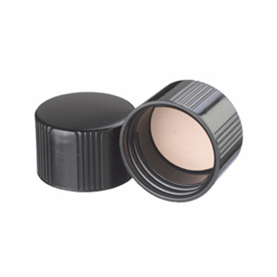38-430 Black Phenolic Cap with PTFE /Rubber Liner, Each